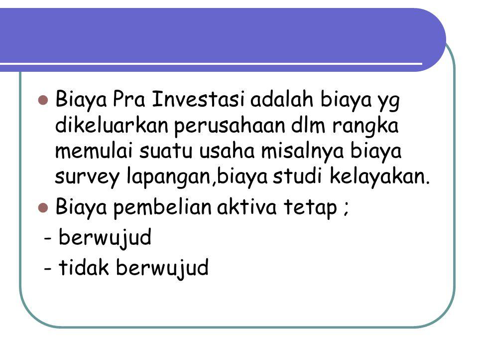 Biaya Pra Investasi adalah biaya yg dikeluarkan perusahaan dlm rangka memulai suatu usaha misalnya biaya survey lapangan,biaya studi kelayakan.