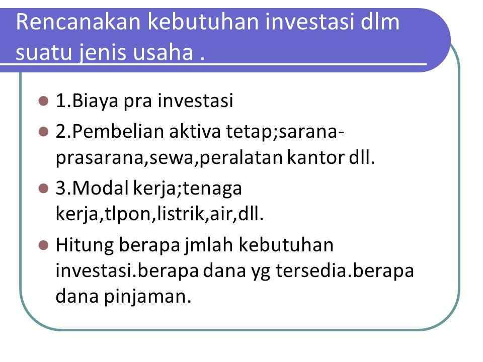 Rencanakan kebutuhan investasi dlm suatu jenis usaha .