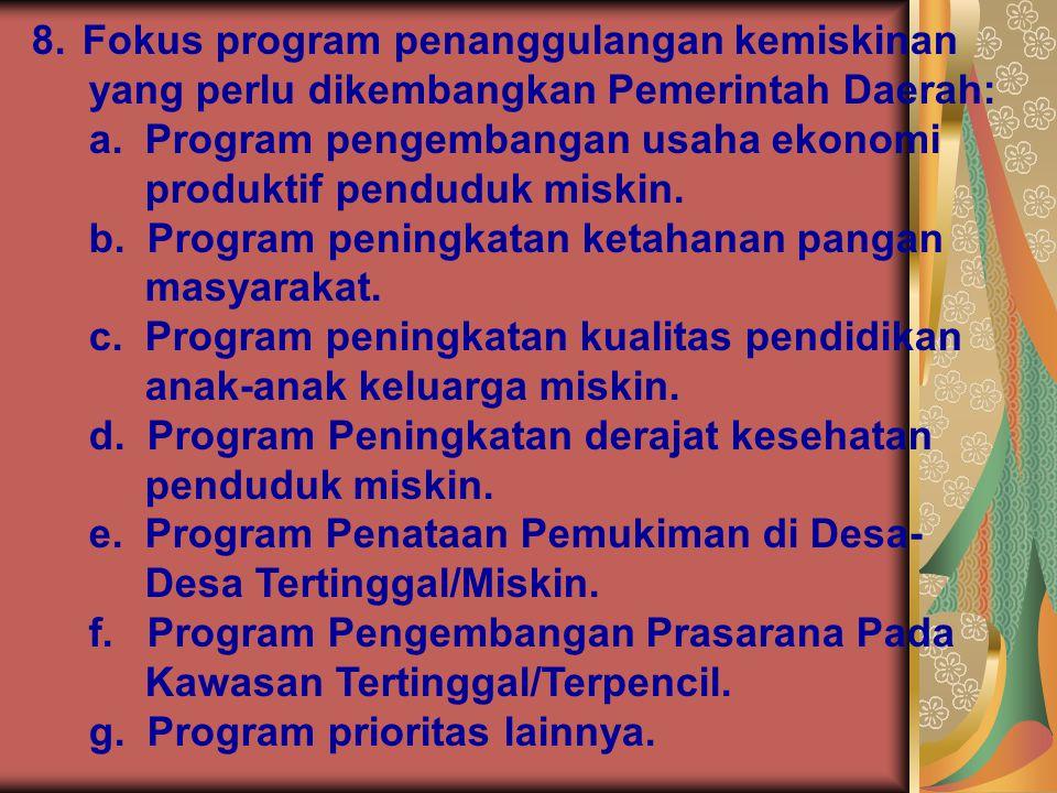 Fokus program penanggulangan kemiskinan