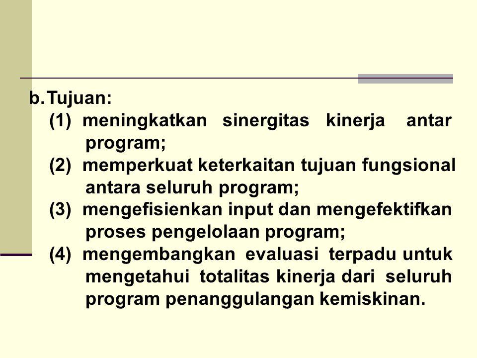 Tujuan: (1) meningkatkan sinergitas kinerja antar. program; (2) memperkuat keterkaitan tujuan fungsional.