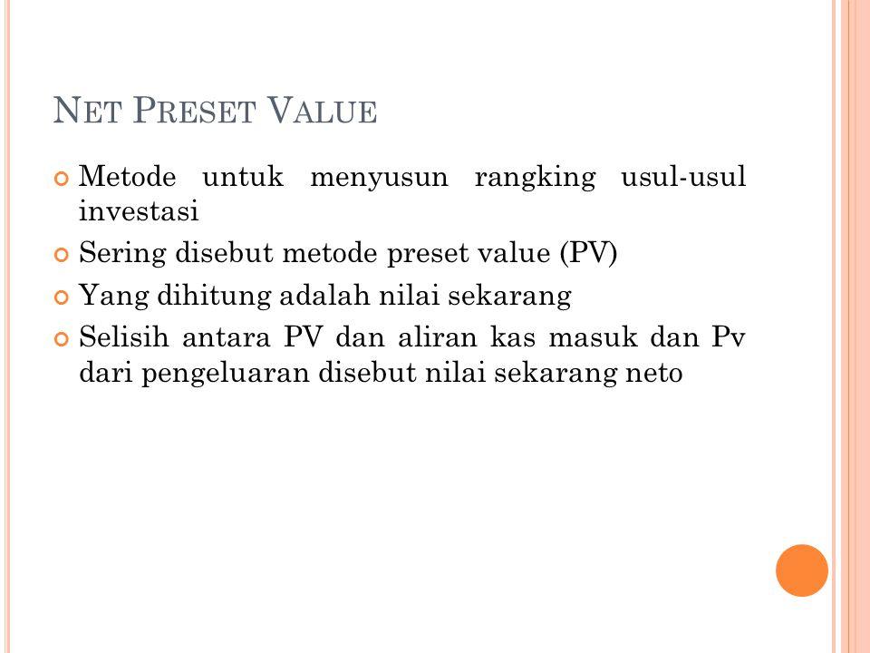 Net Preset Value Metode untuk menyusun rangking usul-usul investasi