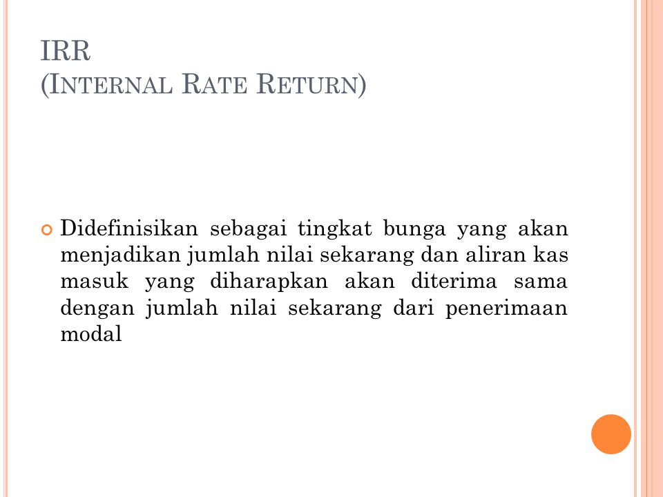 IRR (Internal Rate Return)