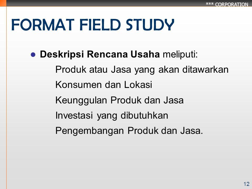 FORMAT FIELD STUDY Deskripsi Rencana Usaha meliputi: