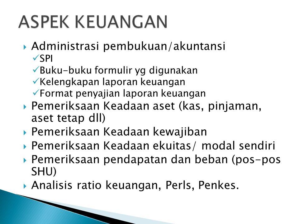 ASPEK KEUANGAN Administrasi pembukuan/akuntansi