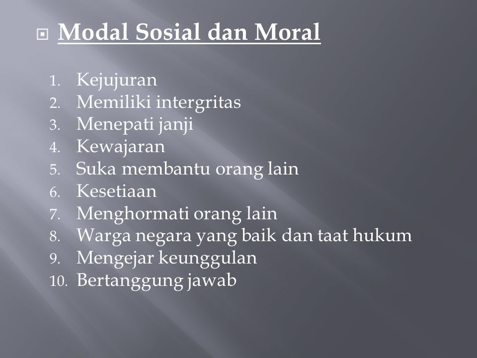 Modal Sosial dan Moral Kejujuran Memiliki intergritas Menepati janji