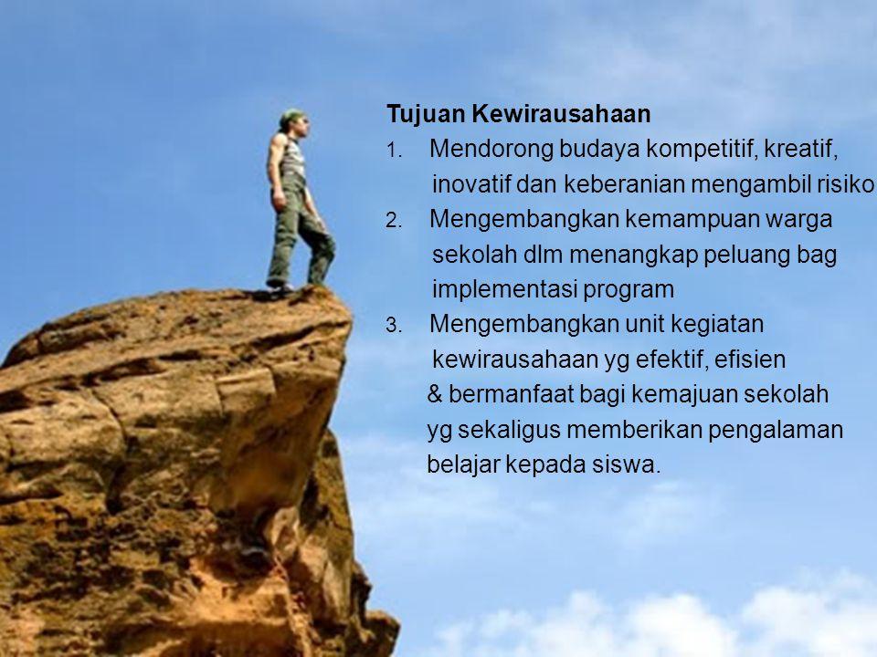 Tujuan Kewirausahaan Mendorong budaya kompetitif, kreatif, inovatif dan keberanian mengambil risiko.