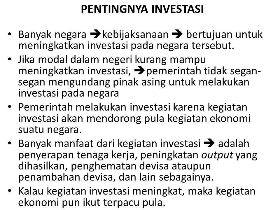 PENTINGNYA INVESTASI Banyak negara kebijaksanaan  bertujuan untuk meningkatkan investasi pada negara tersebut.