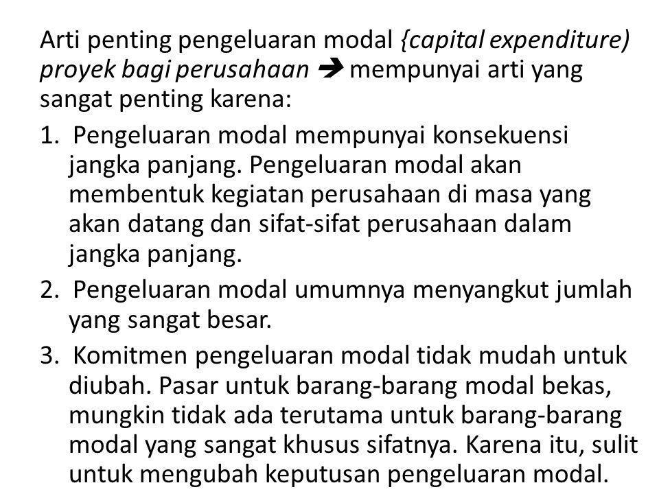 Arti penting pengeluaran modal {capital expenditure) proyek bagi perusahaan  mempunyai arti yang sangat penting karena: 1.