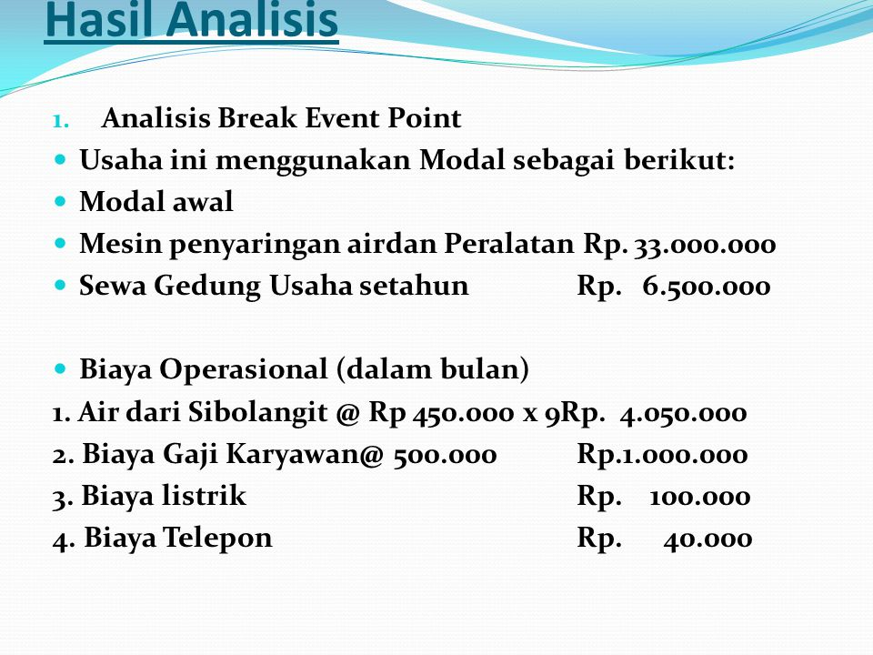 Hasil Analisis Analisis Break Event Point