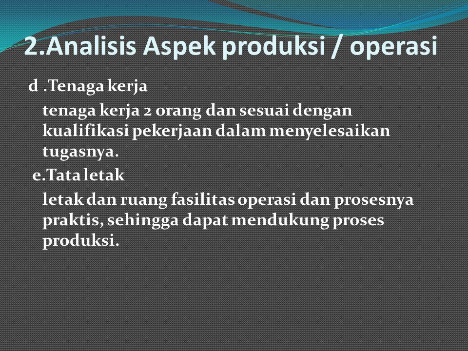 2.Analisis Aspek produksi / operasi