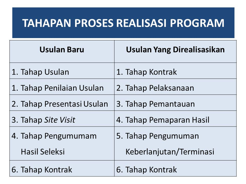 TAHAPAN PROSES REALISASI PROGRAM