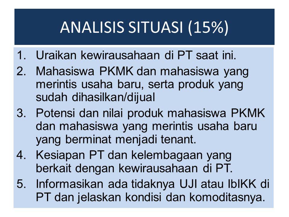 ANALISIS SITUASI (15%) Uraikan kewirausahaan di PT saat ini.