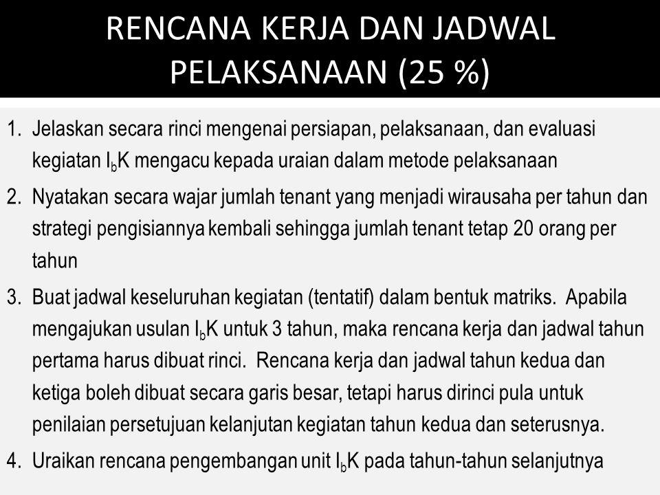 RENCANA KERJA DAN JADWAL PELAKSANAAN (25 %)