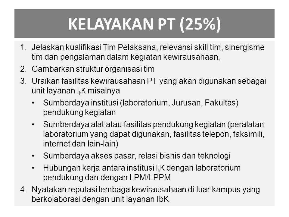 KELAYAKAN PT (25%) Jelaskan kualifikasi Tim Pelaksana, relevansi skill tim, sinergisme tim dan pengalaman dalam kegiatan kewirausahaan,