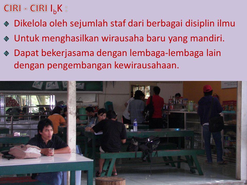 CIRI - CIRI IbK : Dikelola oleh sejumlah staf dari berbagai disiplin ilmu. Untuk menghasilkan wirausaha baru yang mandiri.