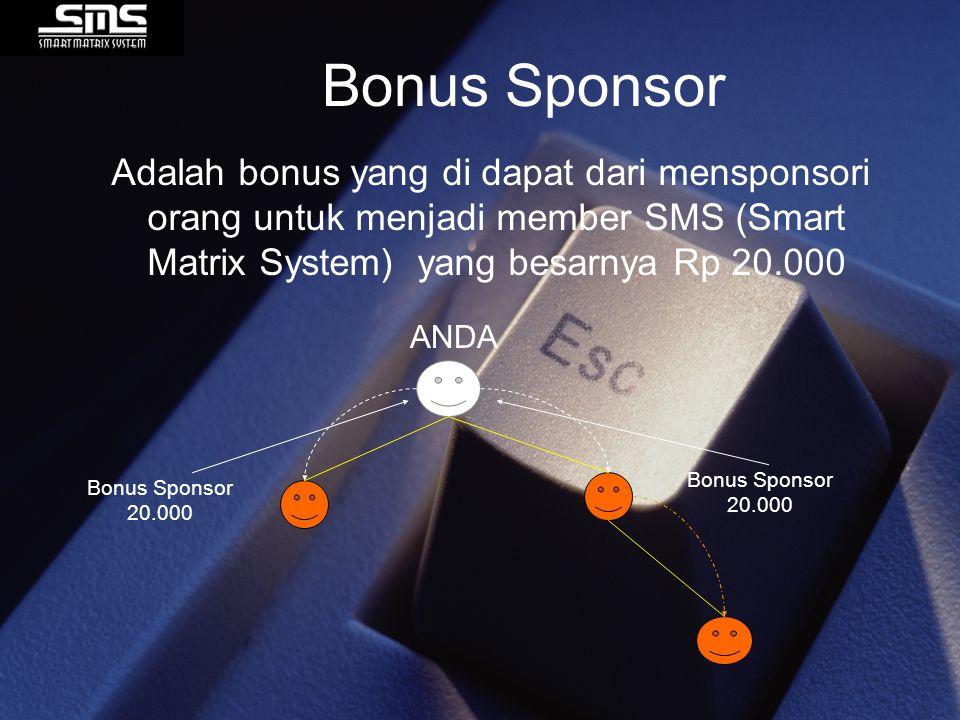 Bonus Sponsor Adalah bonus yang di dapat dari mensponsori orang untuk menjadi member SMS (Smart Matrix System) yang besarnya Rp 20.000.