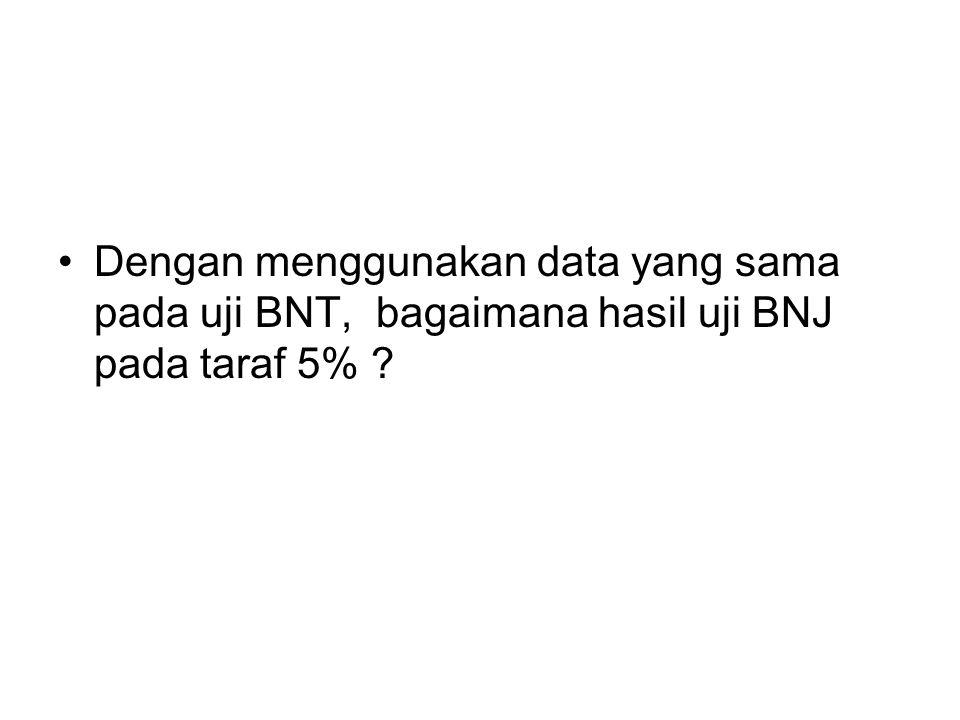 Dengan menggunakan data yang sama pada uji BNT, bagaimana hasil uji BNJ pada taraf 5%