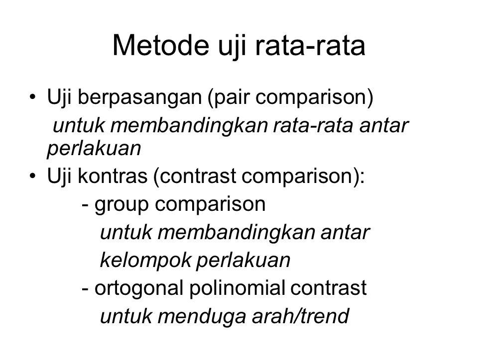 Metode uji rata-rata Uji berpasangan (pair comparison)