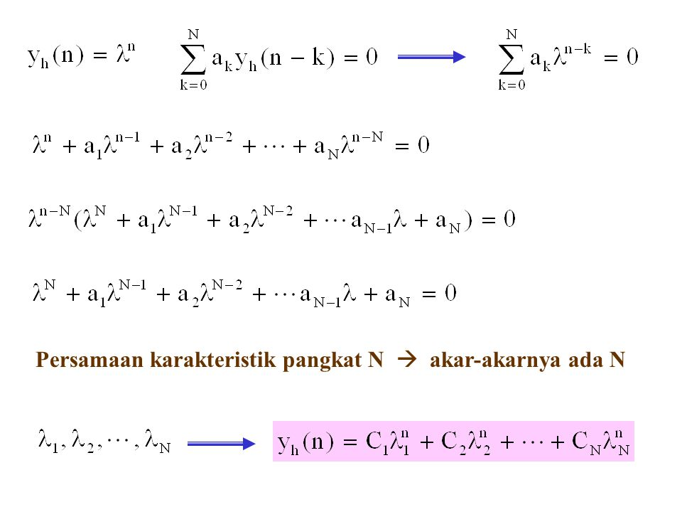 Persamaan karakteristik pangkat N  akar-akarnya ada N
