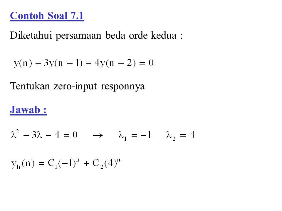 Contoh Soal 7.1 Diketahui persamaan beda orde kedua : Tentukan zero-input responnya Jawab :