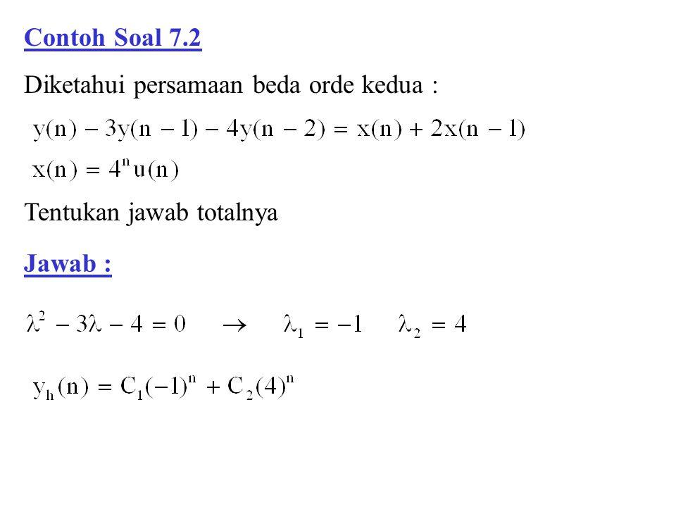 Contoh Soal 7.2 Diketahui persamaan beda orde kedua : Tentukan jawab totalnya Jawab :