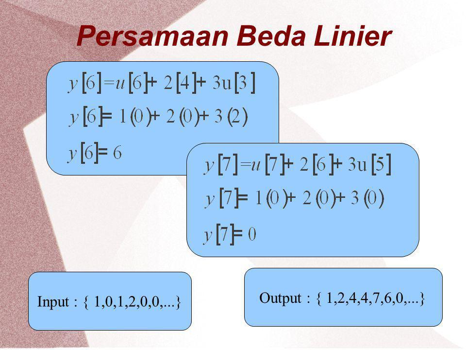 Persamaan Beda Linier Output : { 1,2,4,4,7,6,0,...}