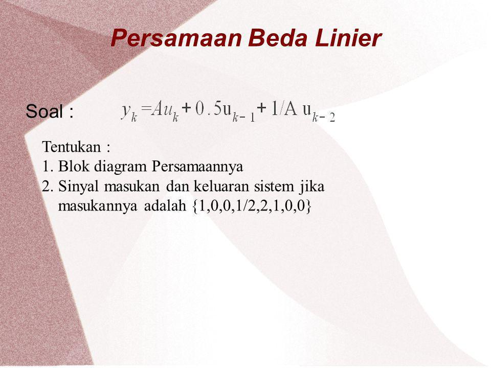 Persamaan Beda Linier Soal : Tentukan : 1. Blok diagram Persamaannya
