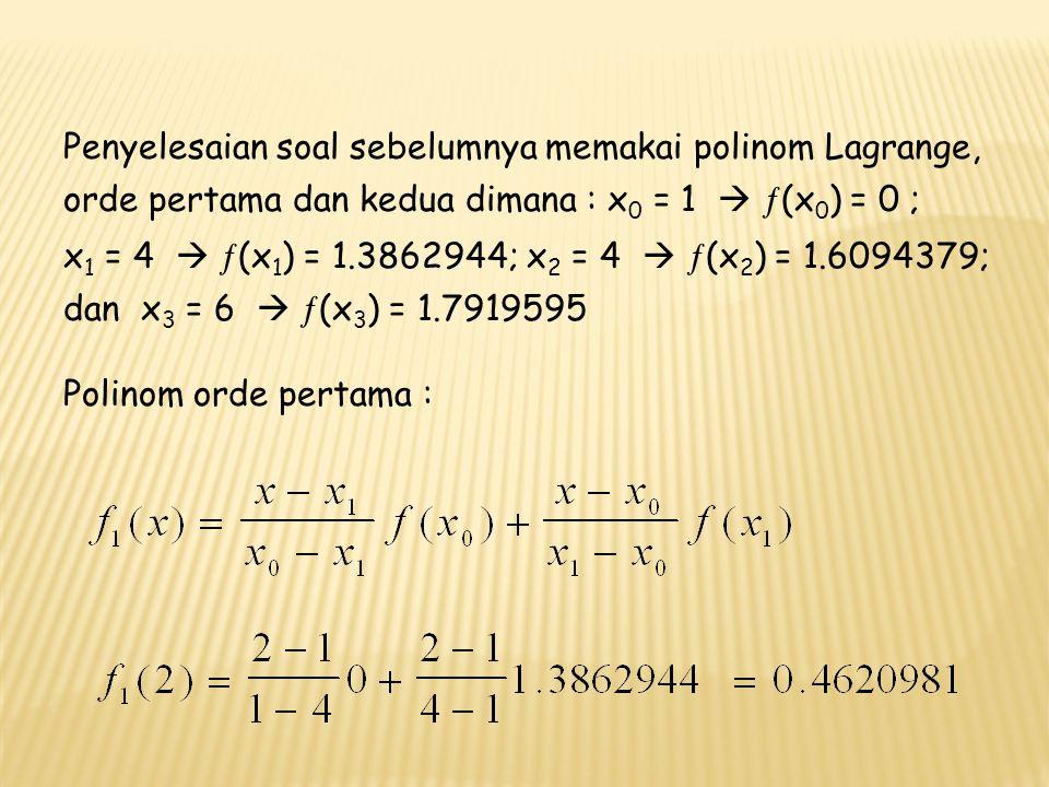 Penyelesaian soal sebelumnya memakai polinom Lagrange, orde pertama dan kedua dimana : x0 = 1  ¦(x0) = 0 ;