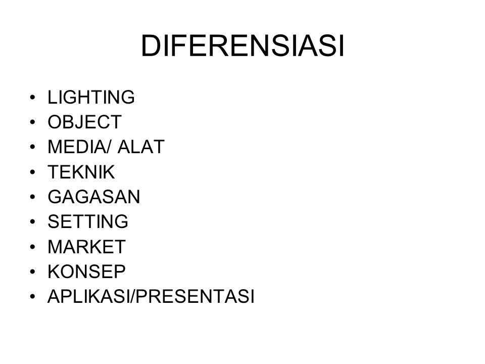 DIFERENSIASI LIGHTING OBJECT MEDIA/ ALAT TEKNIK GAGASAN SETTING MARKET