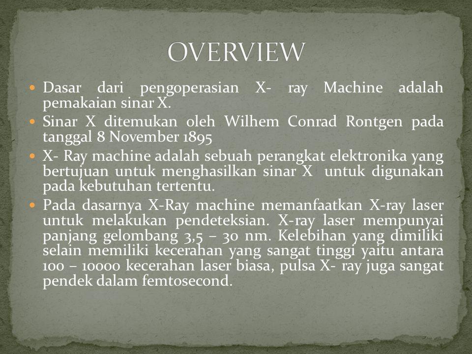 OVERVIEW Dasar dari pengoperasian X- ray Machine adalah pemakaian sinar X.