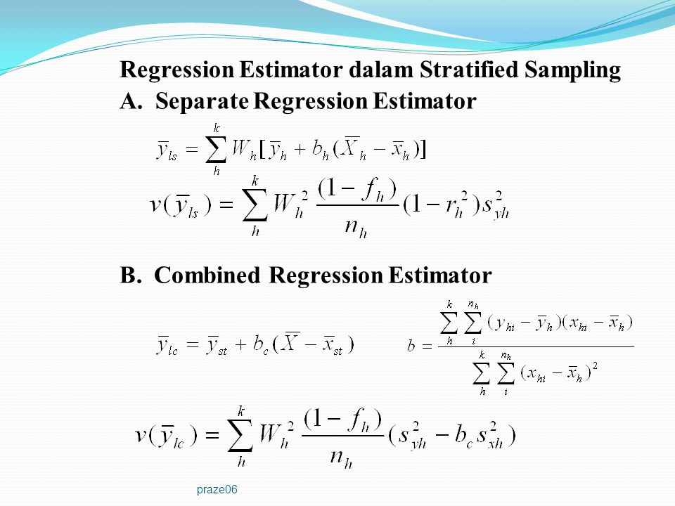 Regression Estimator dalam Stratified Sampling