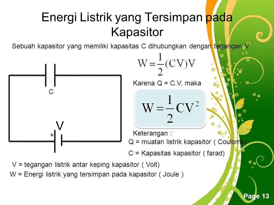 Energi Listrik yang Tersimpan pada Kapasitor