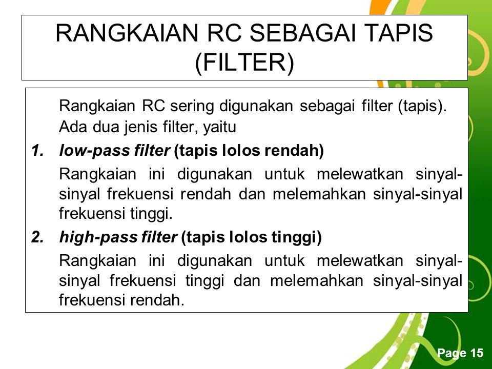 RANGKAIAN RC SEBAGAI TAPIS (FILTER)
