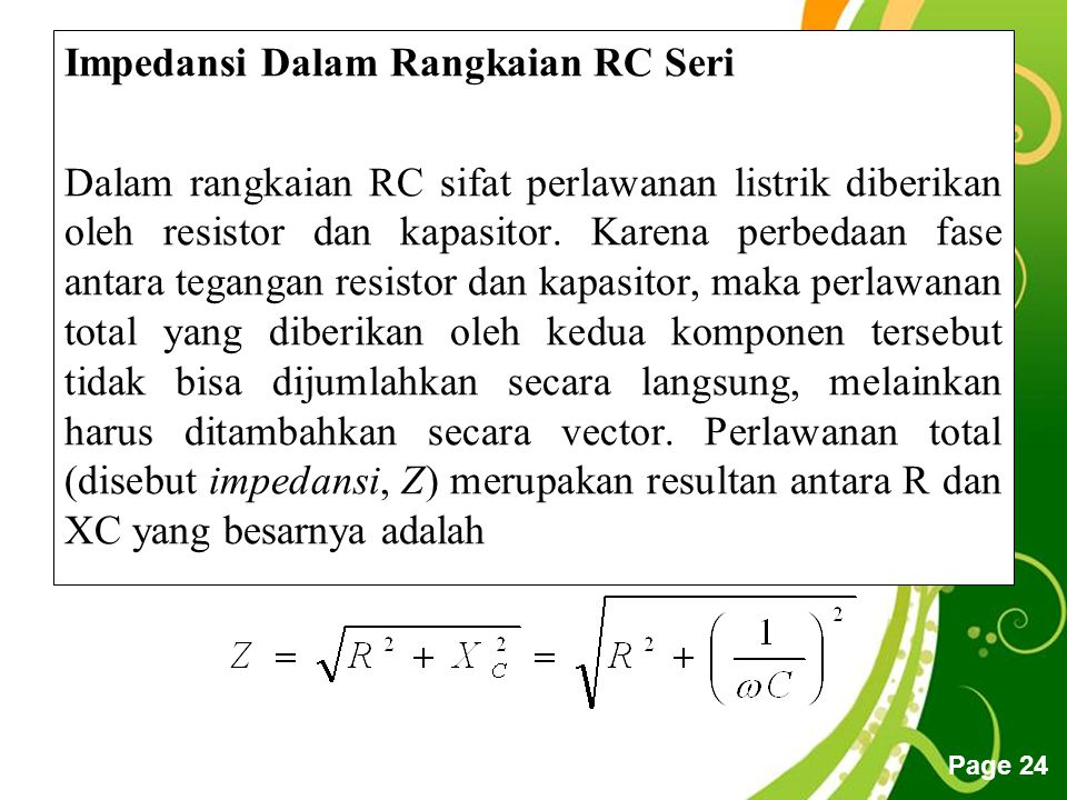 Impedansi Dalam Rangkaian RC Seri