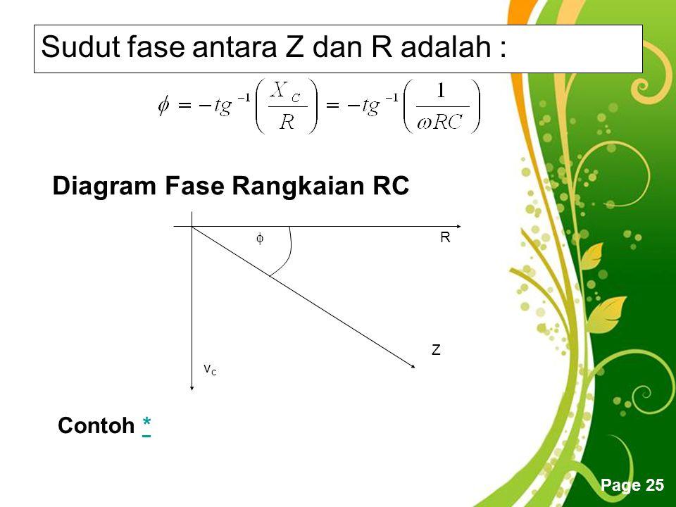 Sudut fase antara Z dan R adalah :