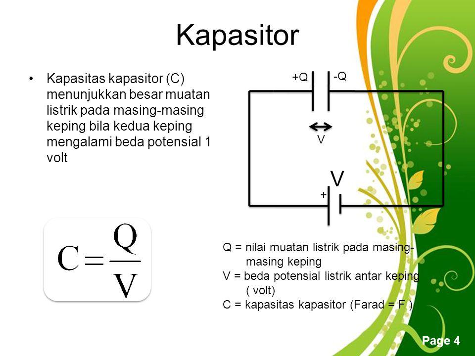Kapasitor Kapasitas kapasitor (C) menunjukkan besar muatan listrik pada masing-masing keping bila kedua keping mengalami beda potensial 1 volt.