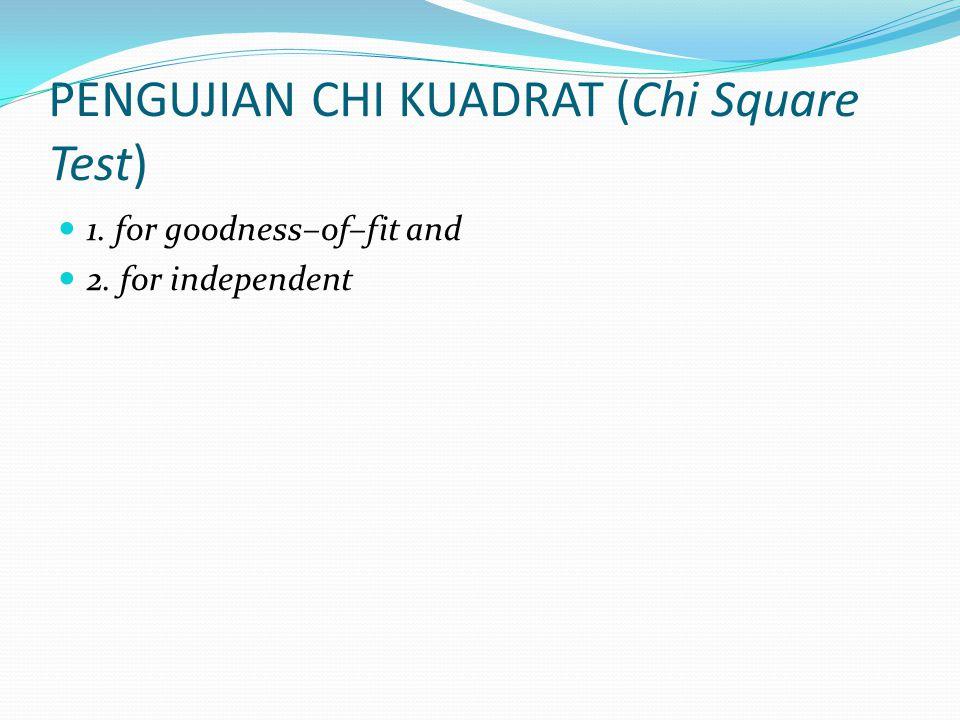 PENGUJIAN CHI KUADRAT (Chi Square Test)