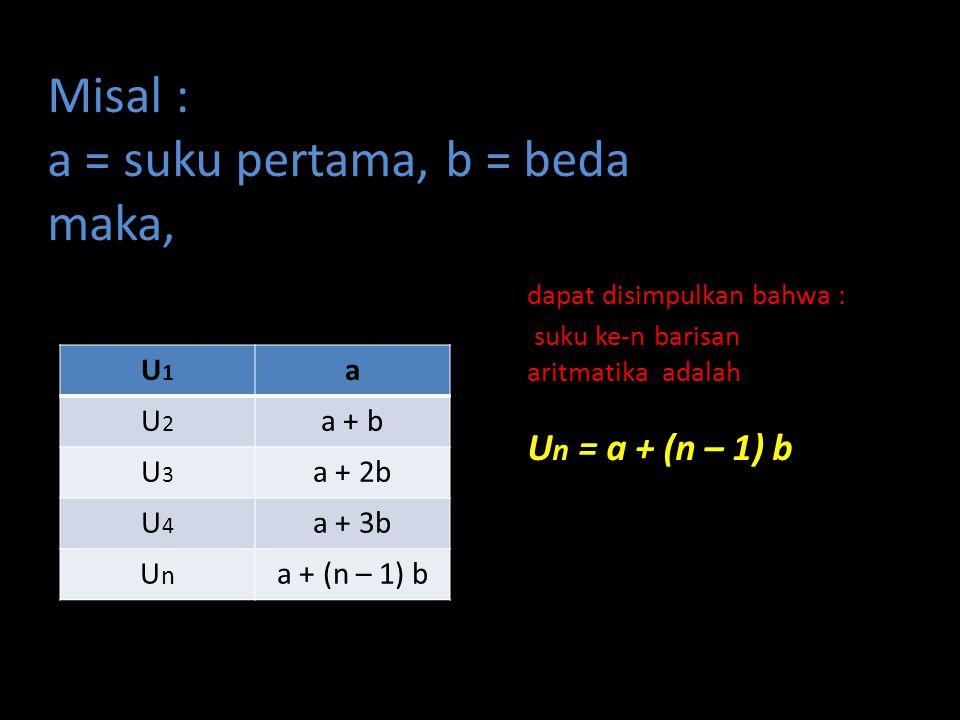 Misal : a = suku pertama, b = beda maka,. dapat disimpulkan bahwa :