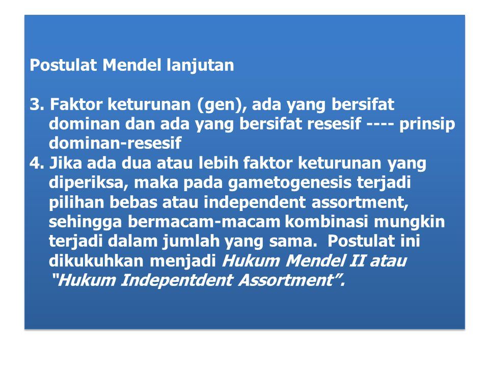 Postulat Mendel lanjutan