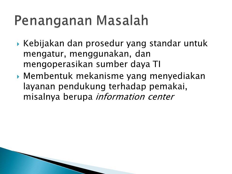 Penanganan Masalah Kebijakan dan prosedur yang standar untuk mengatur, menggunakan, dan mengoperasikan sumber daya TI.