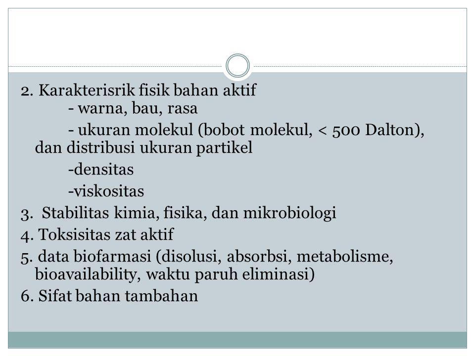 2. Karakterisrik fisik bahan aktif - warna, bau, rasa