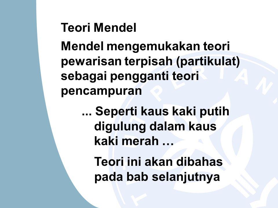 Teori Mendel Mendel mengemukakan teori pewarisan terpisah (partikulat) sebagai pengganti teori pencampuran.