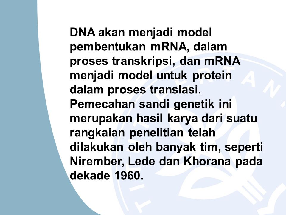 DNA akan menjadi model pembentukan mRNA, dalam proses transkripsi, dan mRNA menjadi model untuk protein dalam proses translasi.