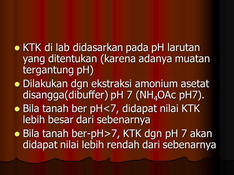 KTK di lab didasarkan pada pH larutan yang ditentukan (karena adanya muatan tergantung pH)