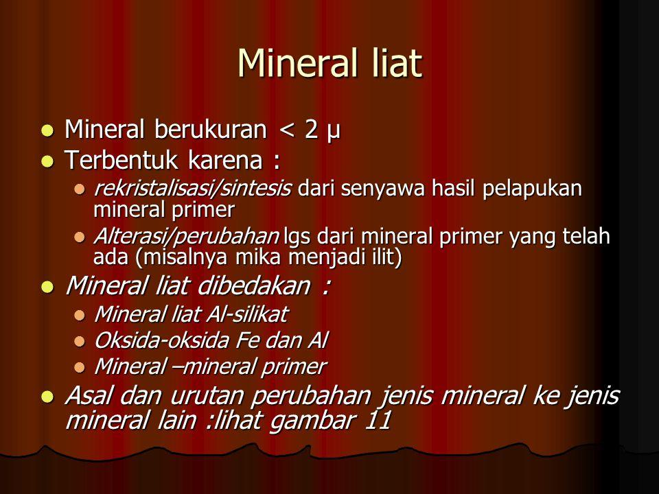 Mineral liat Mineral berukuran < 2 μ Terbentuk karena :