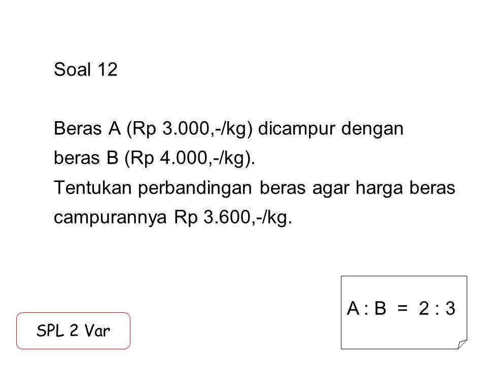 Soal 12 Beras A (Rp 3. 000,-/kg) dicampur dengan beras B (Rp 4