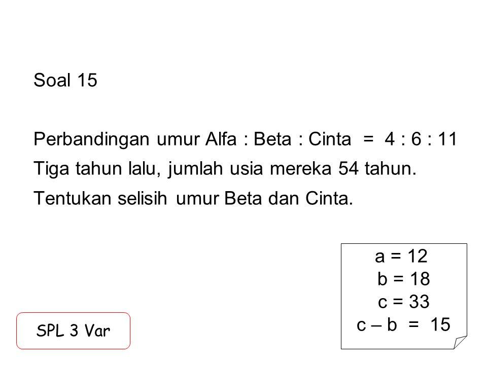 Soal 15 Perbandingan umur Alfa : Beta : Cinta = 4 : 6 : 11 Tiga tahun lalu, jumlah usia mereka 54 tahun. Tentukan selisih umur Beta dan Cinta.