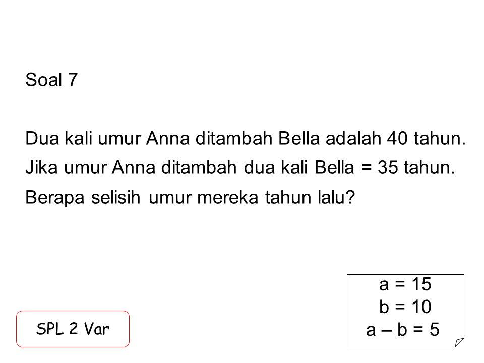 Soal 7 Dua kali umur Anna ditambah Bella adalah 40 tahun