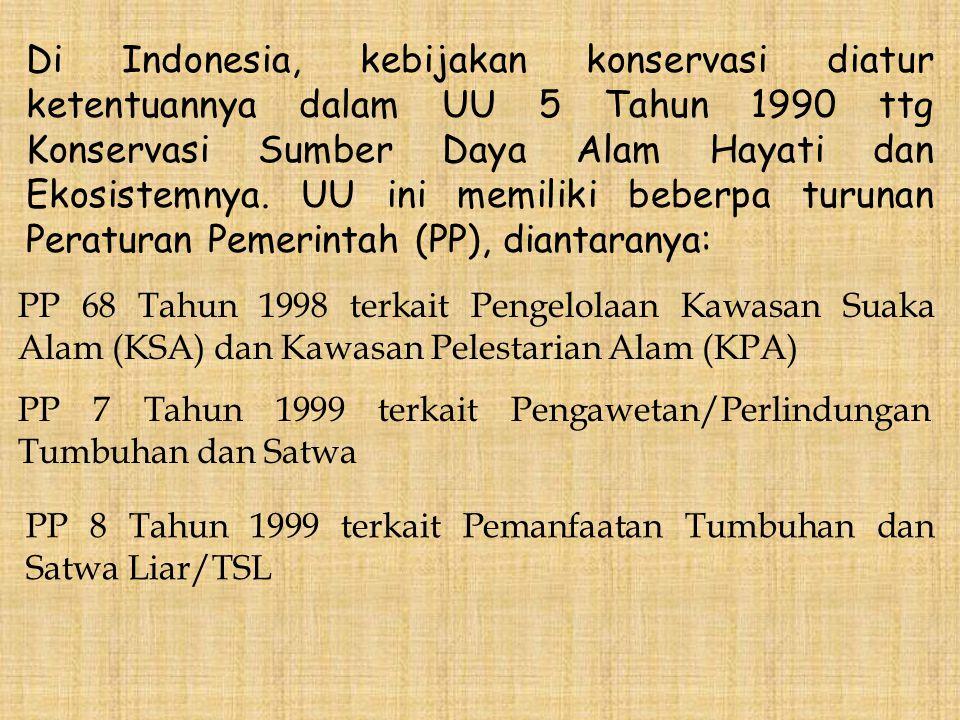 Di Indonesia, kebijakan konservasi diatur ketentuannya dalam UU 5 Tahun 1990 ttg Konservasi Sumber Daya Alam Hayati dan Ekosistemnya. UU ini memiliki beberpa turunan Peraturan Pemerintah (PP), diantaranya: