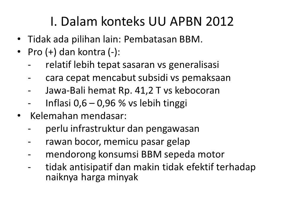 I. Dalam konteks UU APBN 2012 Tidak ada pilihan lain: Pembatasan BBM.